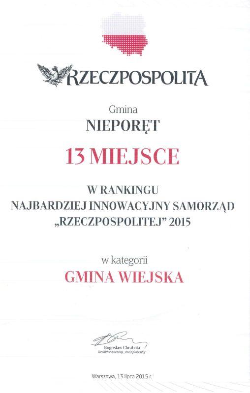 """XIII Miejsce w Rankingu najbardziej innowacyjny samorząd """"Rzeczpospolitej"""" 2015"""