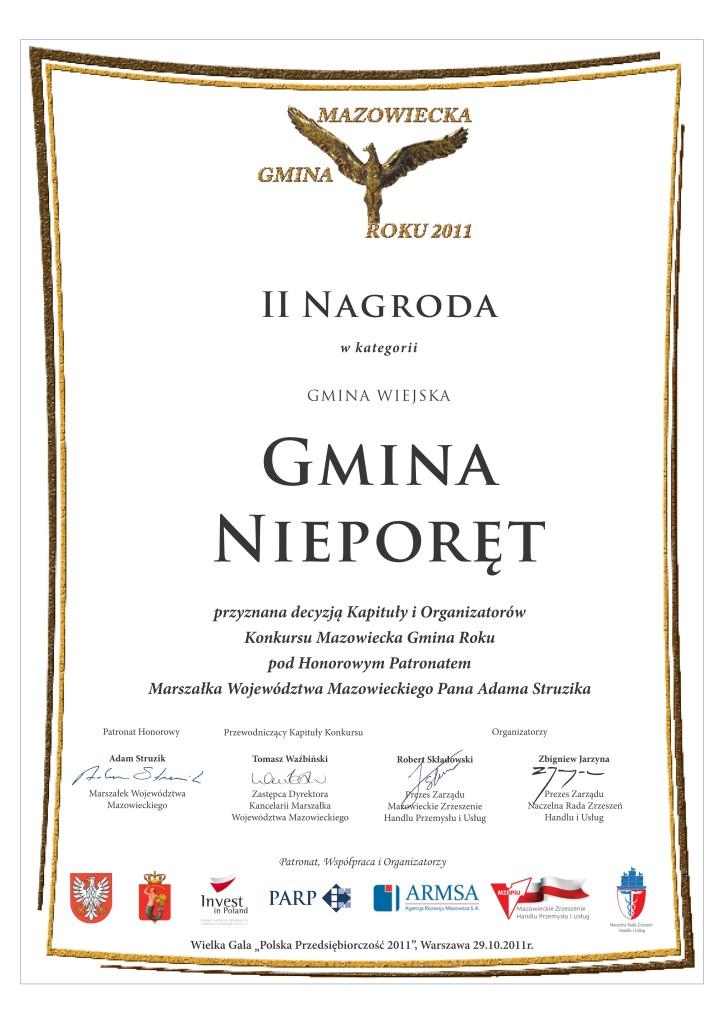 Mazowiecka Gmina Roku 2011 - II Nagroda w kategorii Gmina Wiejska
