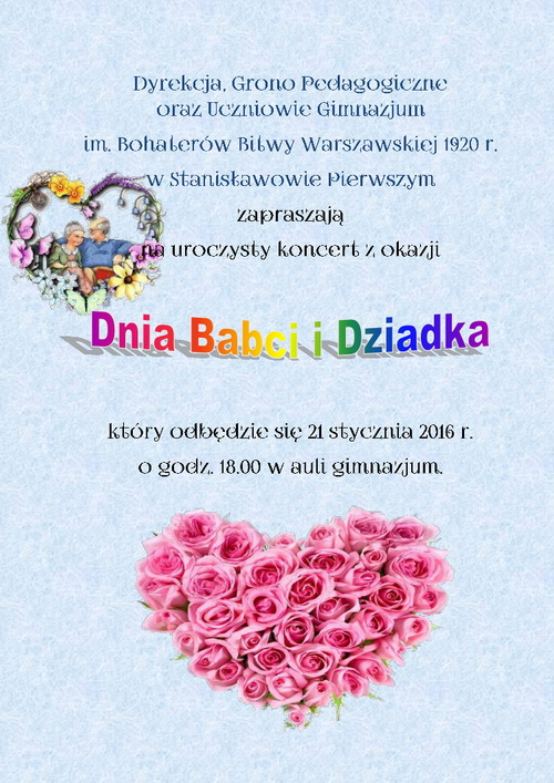 Dzień Babci I Dziadka Zaproszenie Na Uroczysty Koncert Gmina Nieporęt
