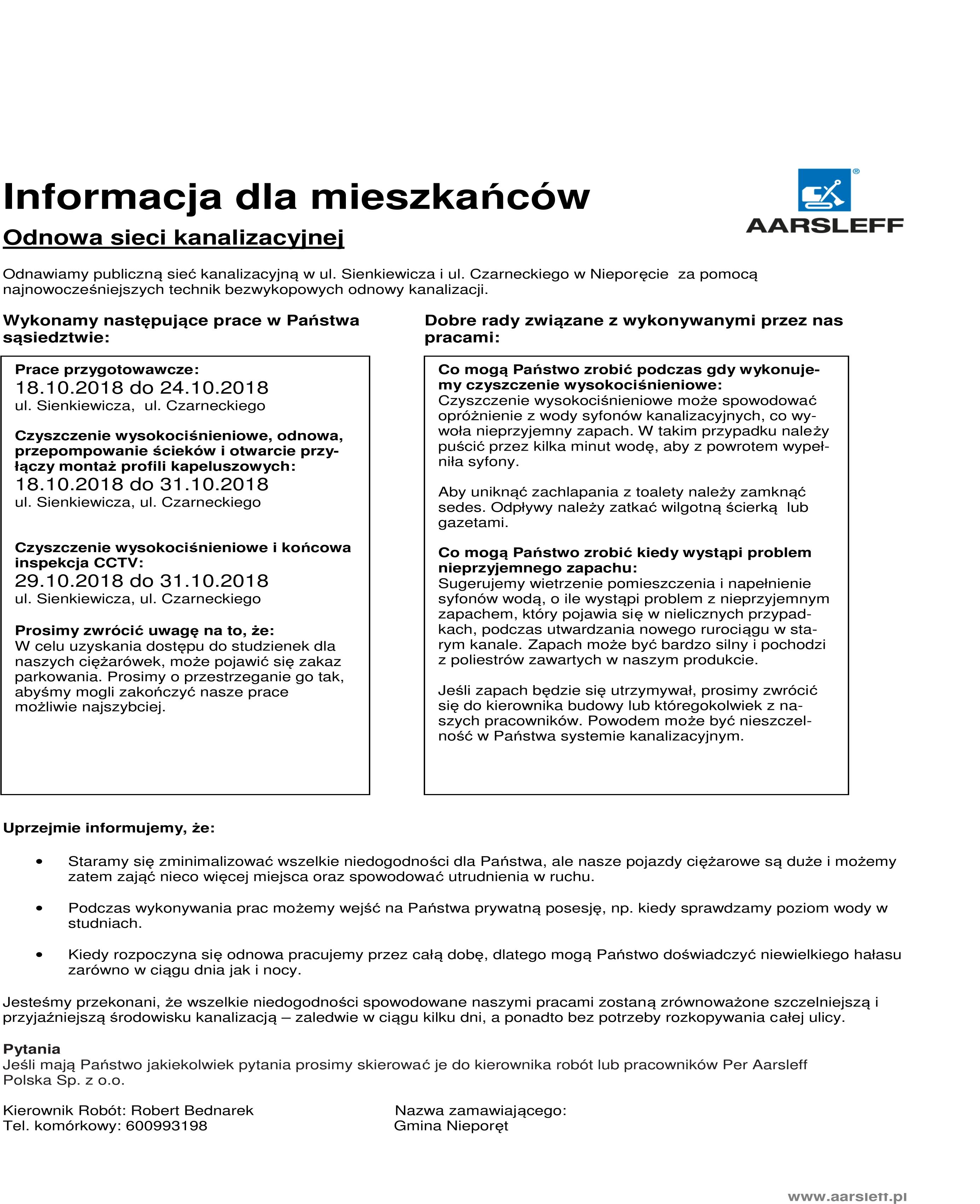 informacja dla mieszkańców