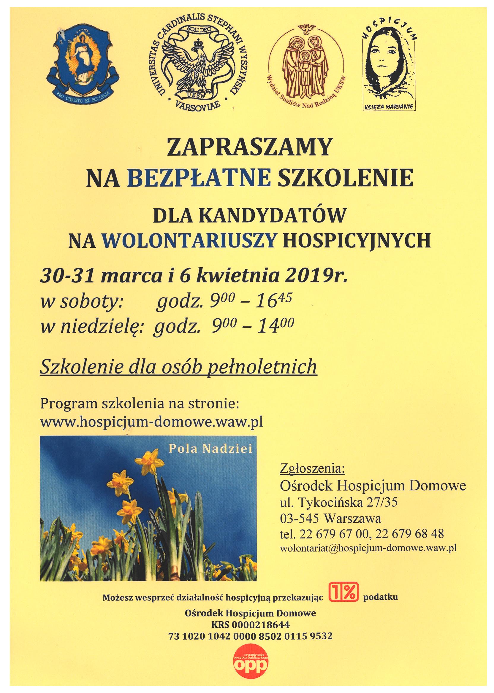 Ośrodek Hospicjum Domowe Zgromadzenia Księży Marianów zaprasza na szkolenie dla kandydatów na wolontariuszy hospicyjnych 30 i 31 marca oraz 6 kwietnia