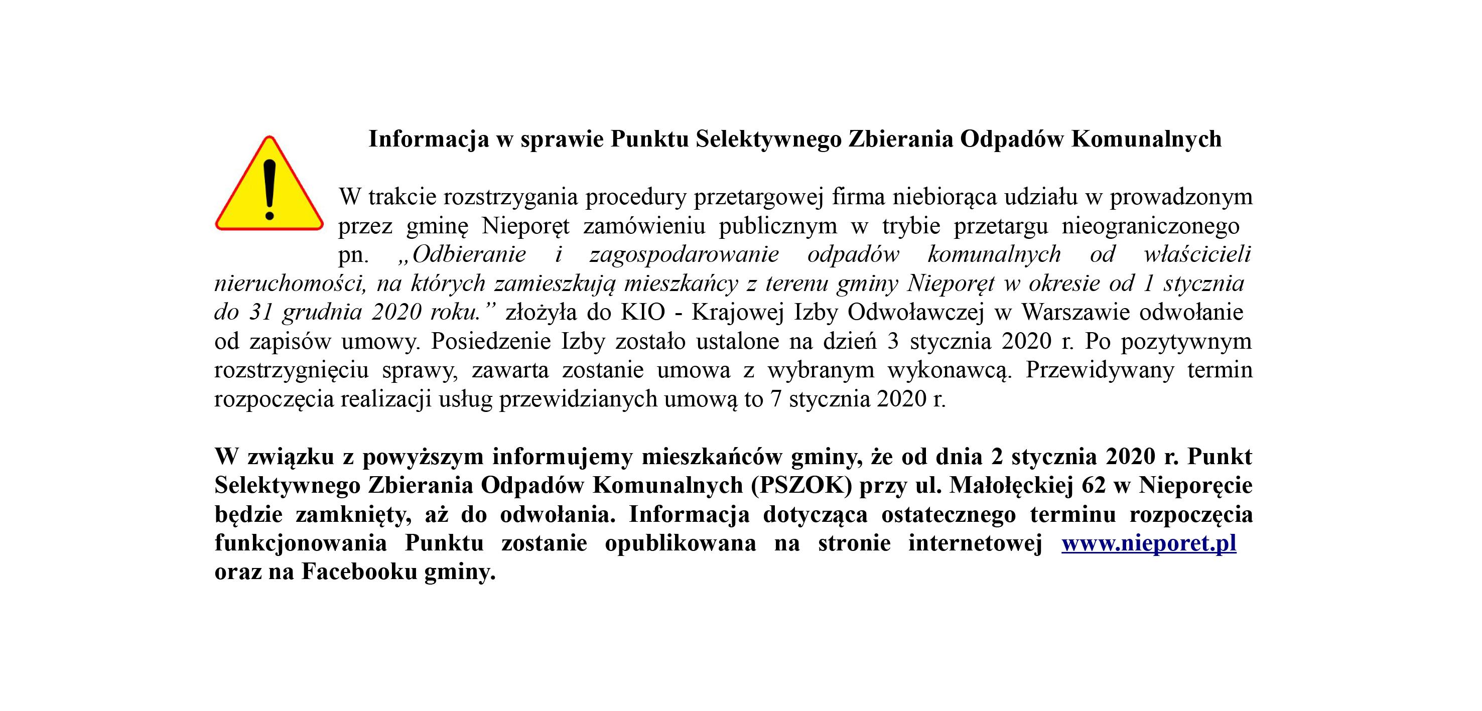 Informacja na stronę o chwilowym zamknieciu PSZOK