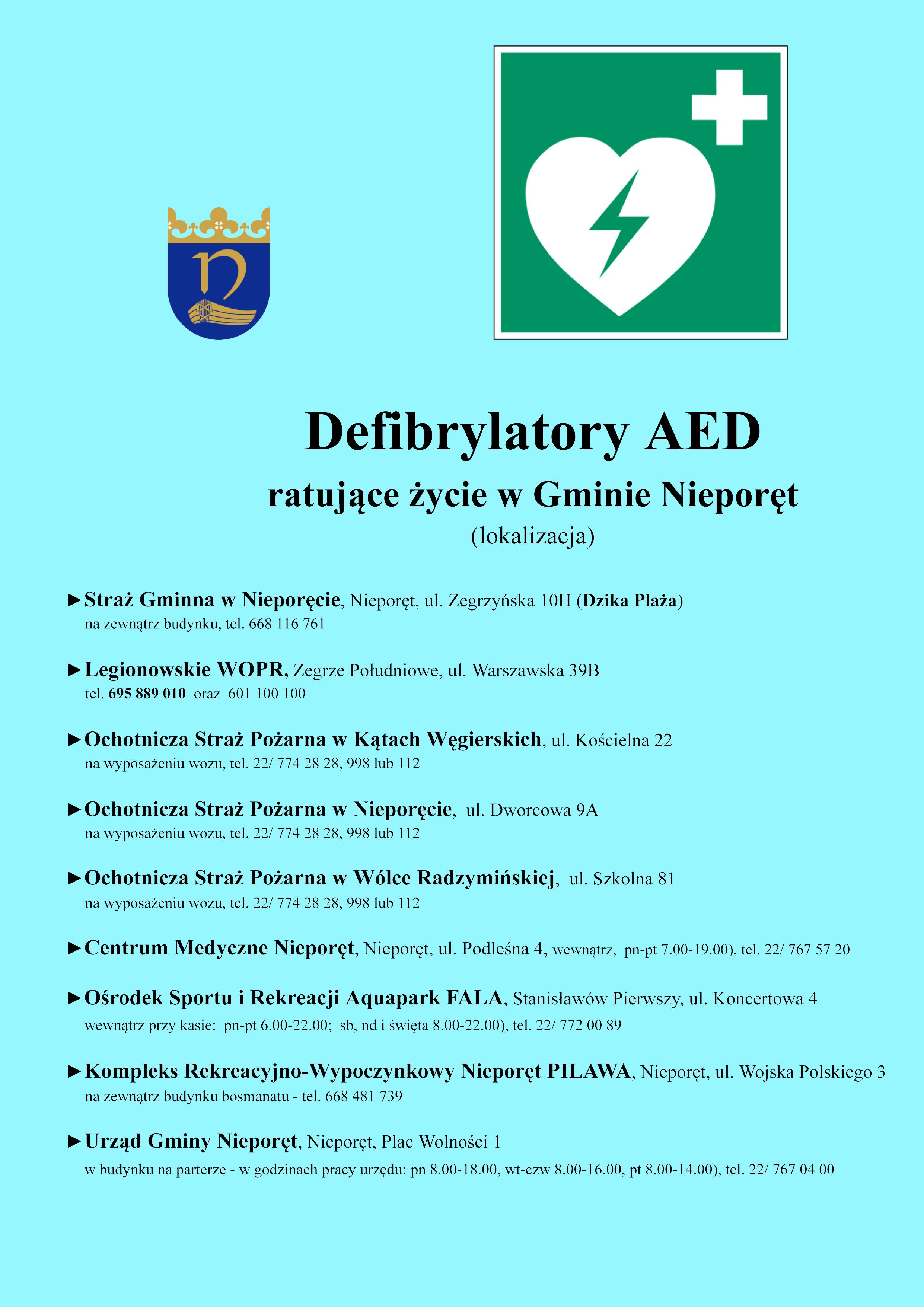 Wykaz defibrylatorów AED znajdujących się na terenie Gminy Nieporęt